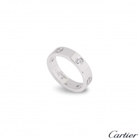 Cartier White Gold Half Diamond Love Ring Size 63 B4032500